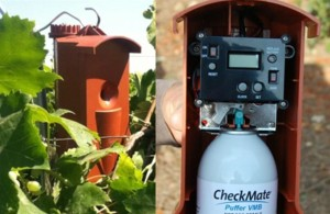 Figure 1The puffer can as deployed in the vineyard (left), and with the lid open exposing the canister of pheromone and the timer (right)