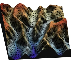 A Digital Elevation Model showing the direction of katabatic wind flow in valleys.