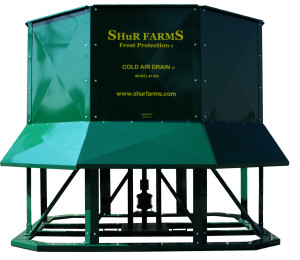 A picture of the Shur Farms Cold Air Drain model #1550 (covers 6-9 acres).