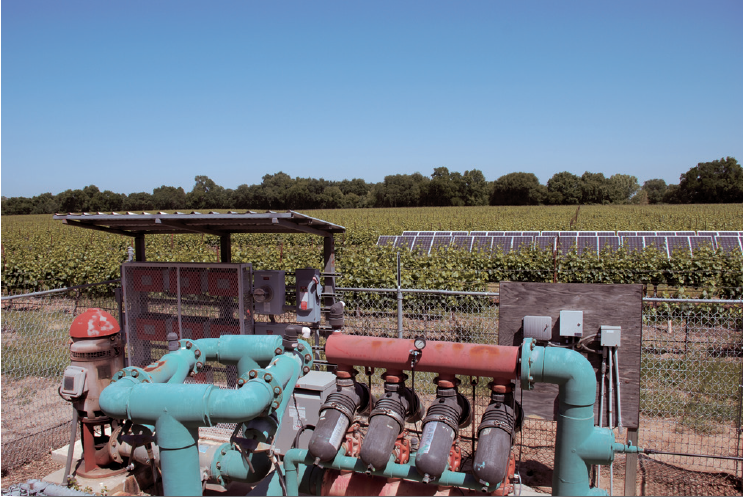 Solar array that  produces the electricity for the pump in the foreground