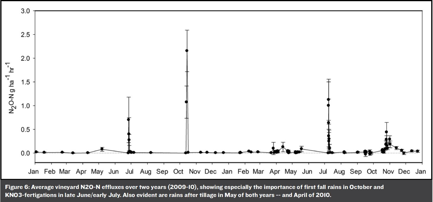 Figure 6: Average vineyard N2O-N effluxes over two years (2009-10), showing especially the importance of first fall rains in October and KNO3-fertigations in late June/early July. Also evident are rains after tillage in May of both years -- and April of 2010.