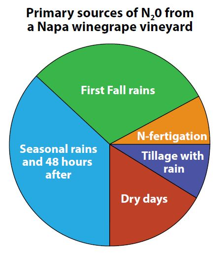 "Figure 8: Proportional sources of N2O emissions from the vineyard's soil, averaged across tractor rows and drip zones in 2009–10. ""Seasonal Rains and 48 hours after"" include all rain events and the following two days, from the period after the first fall rainstorm and before the year's final rain event, which occurred after spring tillage. Although N-fertigation at 7.5–15 lbs/acre accounted for a small fraction of yearly N2O emissions, vineyards with higher application of N may benefit in future from more sophisticated N-fertigation practices, such as micro-sprinklers, or improved management of N-pulses and N-concentrations in fertigation."