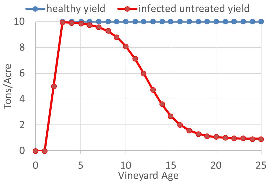 Figure 1: Annual Yields (Tons/Acre) for healthy versus Infected-Untreated Vineyards (based on Munkvold et al. 1994 and Verdegaal et al. 2012).