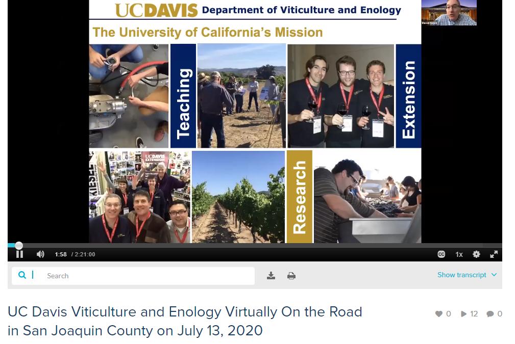 UC DAVIS V&E VIRTUALLY ON THE ROAD IN LODI RECAP
