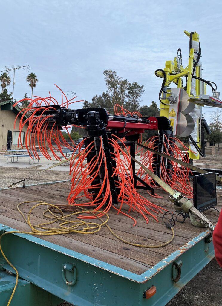 Mechanized suckering equipment. Photo by Lisa Meline.