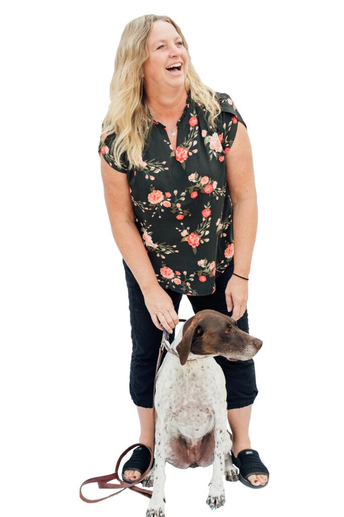 Joan Kautz, Lodi, and dog Olive